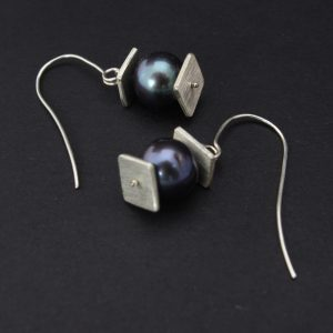 Silver Lantern Earrings with Black Pearl Handmade in Lincoln, NE