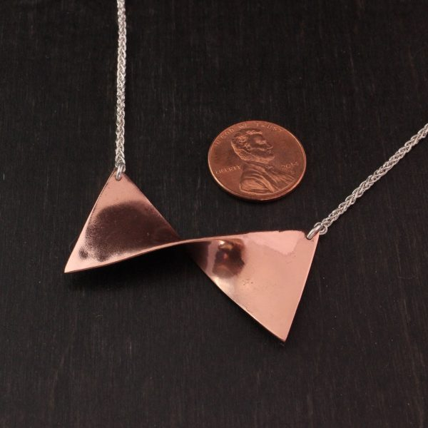 Copper Bow Necklace with Silver Chain Handmade in Lincoln, NE