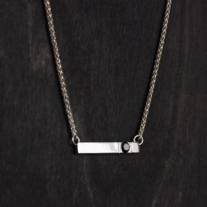 Silver Bar with Black Diamond Necklace Handmade in Lincoln, NE