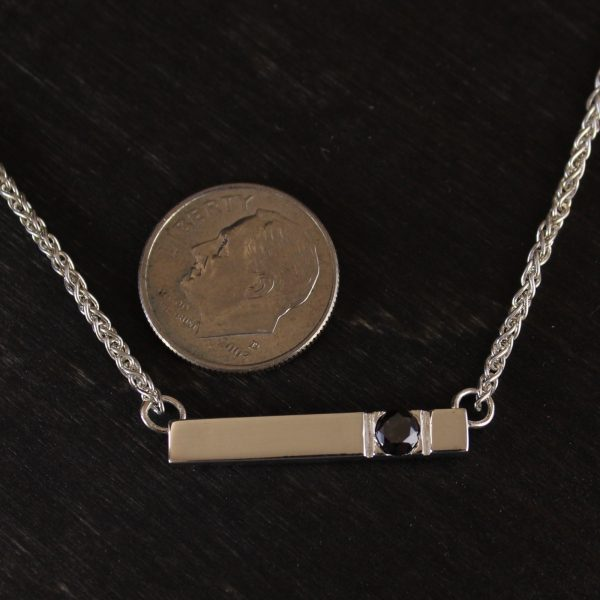 Silver Bar with Black Diamond Necklace Handmade in Lincoln, NE