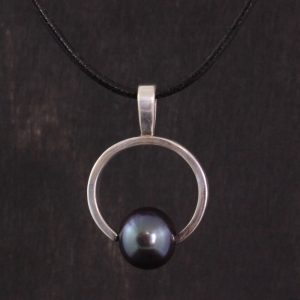 Silver and Pearl Pendant, Round with Bail Handmade in Lincoln, NE
