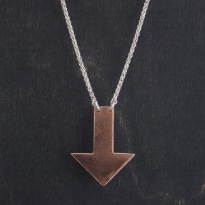 Copper Down Arrow Necklace handmade in Lincoln, NE