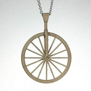 Matte Gold Bicycle Spinner Pendant