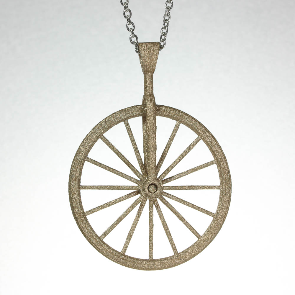 Bicycle wheel spinner necklace matte gold balliet matte gold bicycle spinner pendant aloadofball Image collections