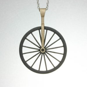 Mixed Metal Bicycle Spinner Pendant