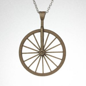 Polished Bronze Bicycle Spinner Pendant