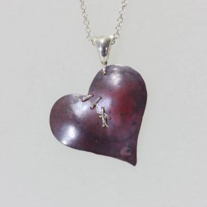 Copper and Silver Broken Heart Necklace