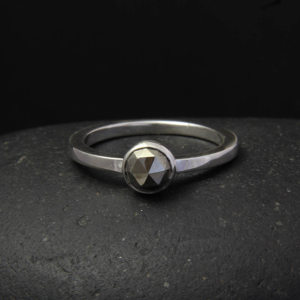 faceted pyrite 6mm bezel set in silver ring argentium silver